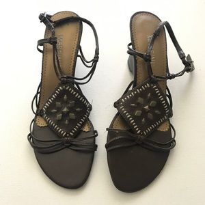 Massini Brown Wedge Sandals Size 8 Metal Accents
